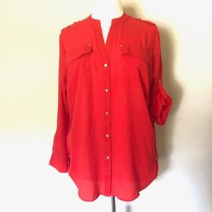 Calvin Klien Red Orange Blouse NWT